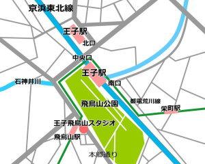 京浜東北線 王子駅徒歩4分のレンタルスタジオの地図・アクセスマップ